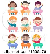 Kids Class Seats Hold Pencil Illustration