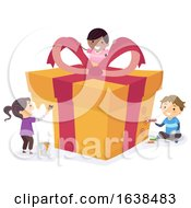 Stickman Kids Gift Wrapping Illustration