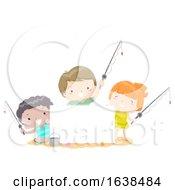 Kids Beach Fishing Board Illustration