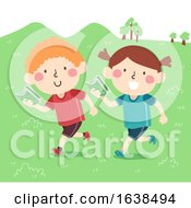 Kids Sweden Orienteering Illustration