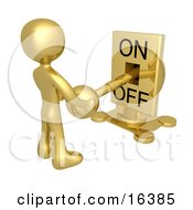Gold Person Holding A Switch And Turning The Lever Off