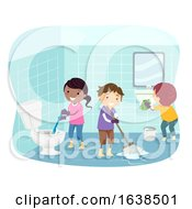 Stickman Kids Clean Toilet Illustration