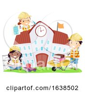 Stickman Kids Construction School Illustration