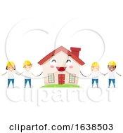 Poster, Art Print Of Stickman Kids Construction Volunteer Mascot House