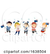 Stickman Kids Dance Australia Day Illustration