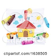 Stickman Kids Hard Hat Draw House Illustration