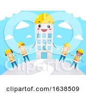 Stickman Kids Mascot Building Illustration