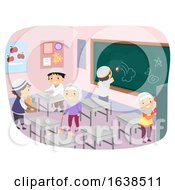 Stickman Kids Muslim Clean Classroom Illustration