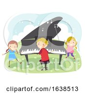 Poster, Art Print Of Kids Playing Piano Outdoors Illustration