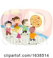 Poster, Art Print Of Stickman Kids Pin The Pizza Illustration