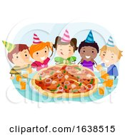 Stickman Kids Pizza Birthday Party Illustration