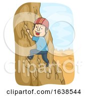 Man Desert Adventure Rock Climbing Illustration