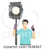 Man Light Technician Illustration