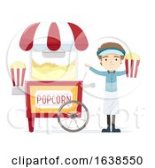 Man Popcorn Vendor Illustration