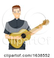 Man Priest Guitar Illustration
