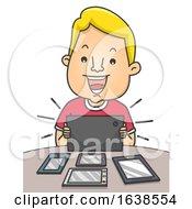 Man Several Cellphone Tablet Techie Illustration