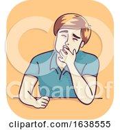 Man Drowsy Yawn Illustration