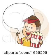 Man Popcorn Speech Bubble Illustration