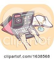 Hands Laptop Porn Addiction Illustration