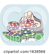 Hand Gambling Casino Chips Illustration