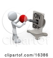 White Person Standing In Front Of A Switch Plate And Holding The Red Knob Preparing To Turn It Off Clipart Illustration Graphic by 3poD