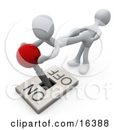 White Person Pulling The Legs Of Another While Assisting THem With Turning A Lever Off Clipart Illustration Graphic
