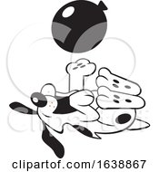 Poster, Art Print Of Cartoon Black And White Dog Rolling On His Back And Playing With A Balloon