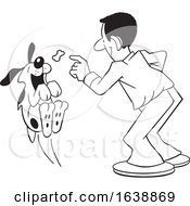 Cartoon Black Man Tossing A Treat To A Dog