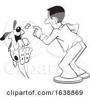 Cartoon Black Man Tossing A Treat To A Dog