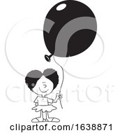 Cartoon Black Girl Holding A Balloon