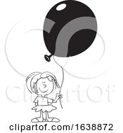 Cartoon Black And White Girl Holding A Balloon