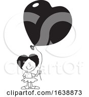 Poster, Art Print Of Cartoon Black Girl Holding A Heart Balloon