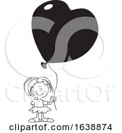 Cartoon Black And White Girl Holding A Heart Balloon