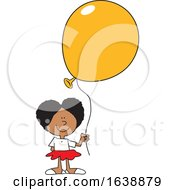 Cartoon Black Girl Holding A Yellow Balloon
