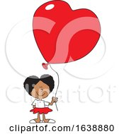 Cartoon Black Girl Holding A Heart Balloon