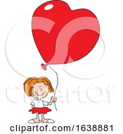 Cartoon White Girl Holding A Heart Balloon