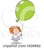Cartoon White Girl Holding A Green Balloon