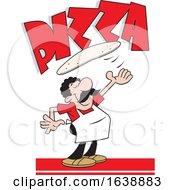Cartoon Chef Tossing Dough Under Pizza Text