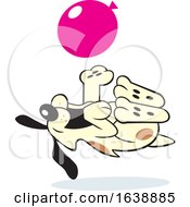 Poster, Art Print Of Cartoon Dog Rolling On His Back And Playing With A Balloon
