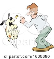 Cartoon White Man Tossing A Treat To A Dog