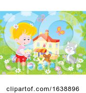 Poster, Art Print Of Little Girl Playing With Her Cat And Doll House