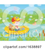 Little Boy Fishing WIth His Dog In A Raft On A Pond