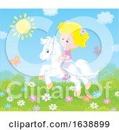 Little Blond Girl Riding A Pony by Alex Bannykh