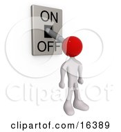 White Person With A Red Head Attached To An OnOff Switch Lever Set To Off Clipart Illustration Graphic by 3poD