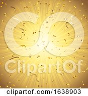 Gold Background With Confetti And Streamers