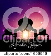 Ramadan Kareem Background With Mosque Silhouette Against Night Sky