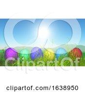 Poster, Art Print Of 3d Easter Eggs In Grassy Landscape