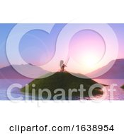 3D Female In A Yoga Pose Against A Sunset Sky
