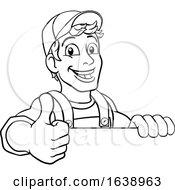 Poster, Art Print Of Handyman Cartoon Caretaker Construction Man Sign