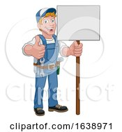 Poster, Art Print Of Handyman Cartoon Caretaker Construction Sign Man